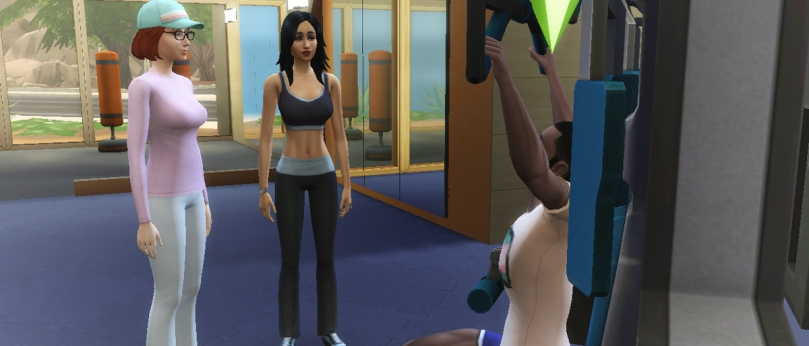 The Sims 4 - Eliza Pancakes, Bella Goth, Nick Wayne chat at gym